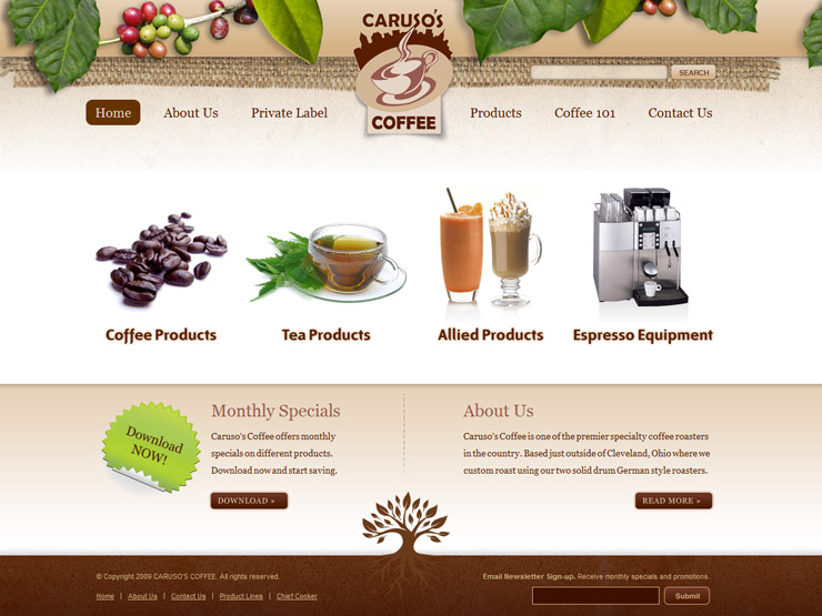 coffee website by caruso's coffee
