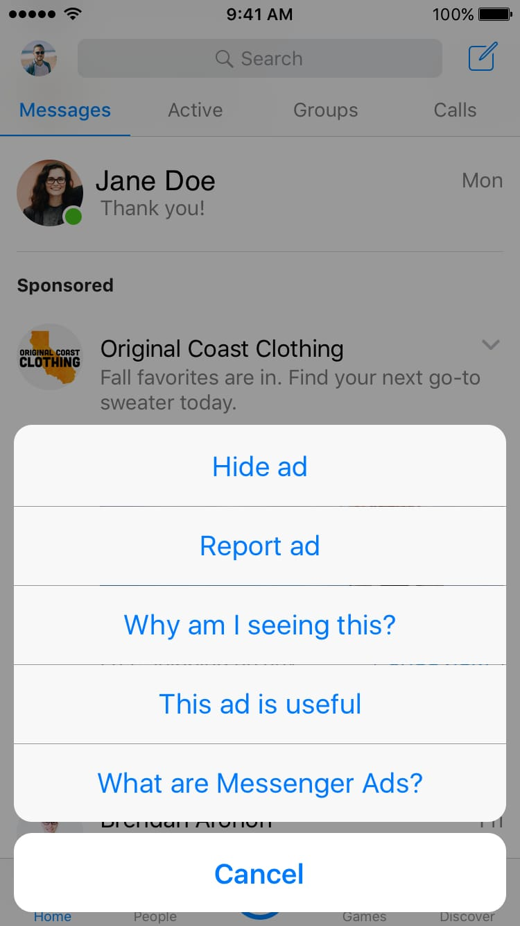 how to hide messenger ads